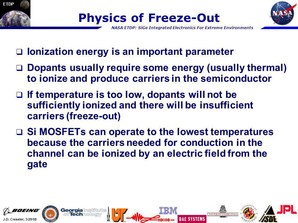 Physics of Freeze-Out Ionization energy is an important parameter