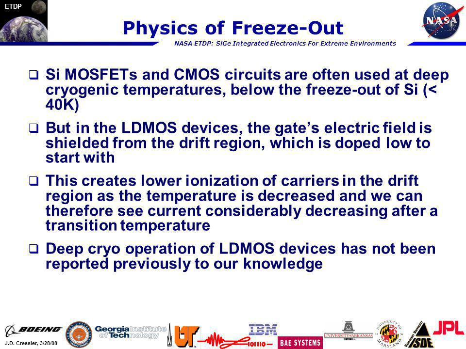 Physics of Freeze-Out Si MOSFETs and CMOS circuits are often used at deep cryogenic temperatures, below the freeze-out of Si (< 40K)