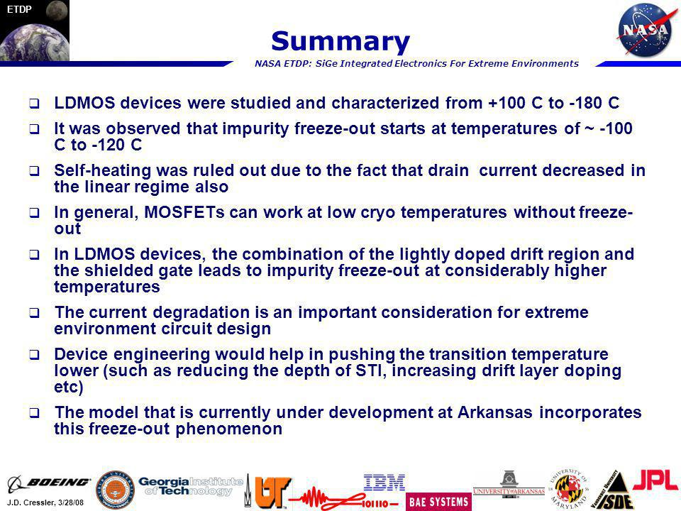 Summary LDMOS devices were studied and characterized from +100 C to -180 C.