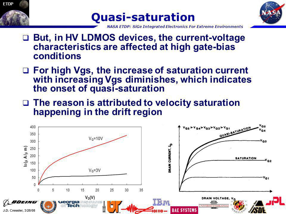 Quasi-saturation But, in HV LDMOS devices, the current-voltage characteristics are affected at high gate-bias conditions.