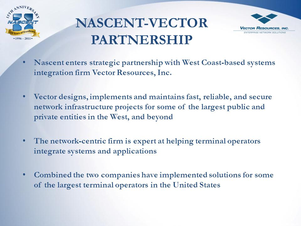 NASCENT-VECTOR PARTNERSHIP
