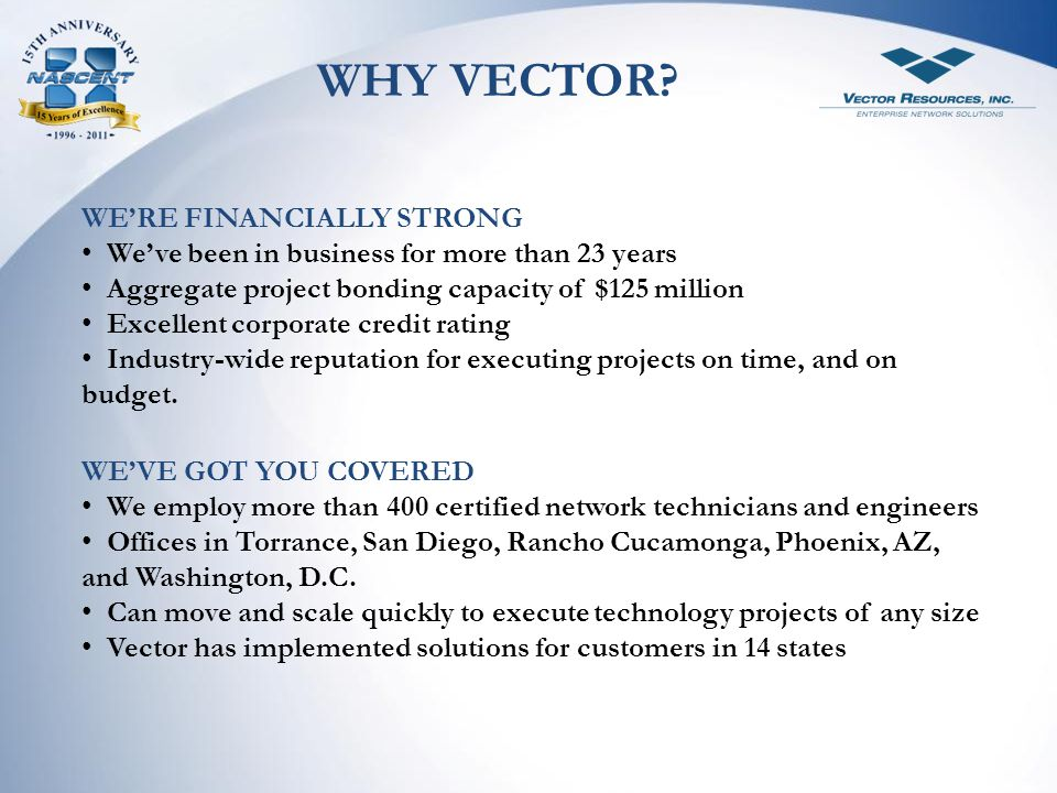 WHY VECTOR WE'RE FINANCIALLY STRONG