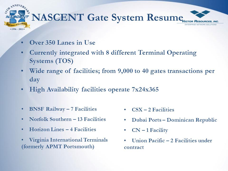 NASCENT Gate System Resume
