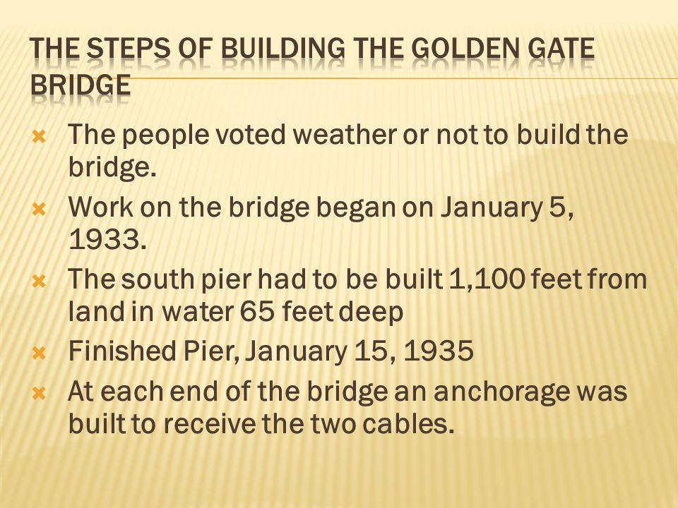 The Steps of building the golden gate bridge
