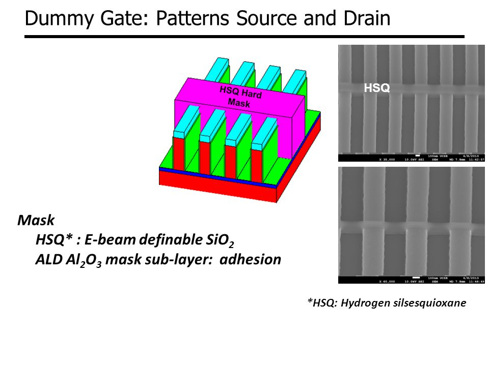 Dummy Gate: Patterns Source and Drain