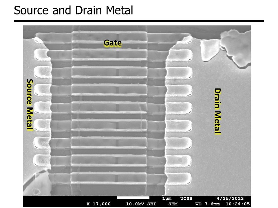 Source and Drain Metal Gate Source Metal Drain Metal