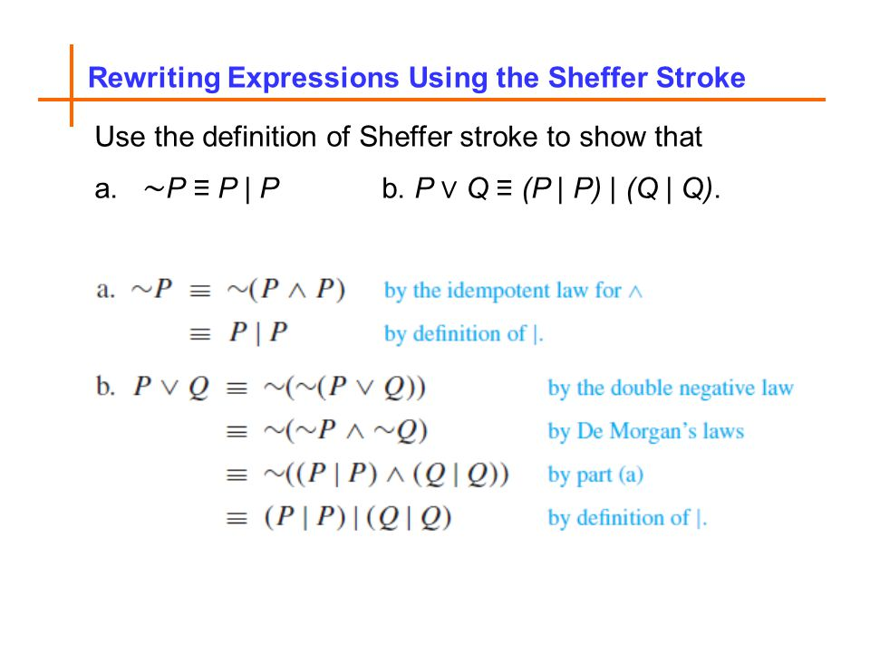 Rewriting Expressions Using the Sheffer Stroke