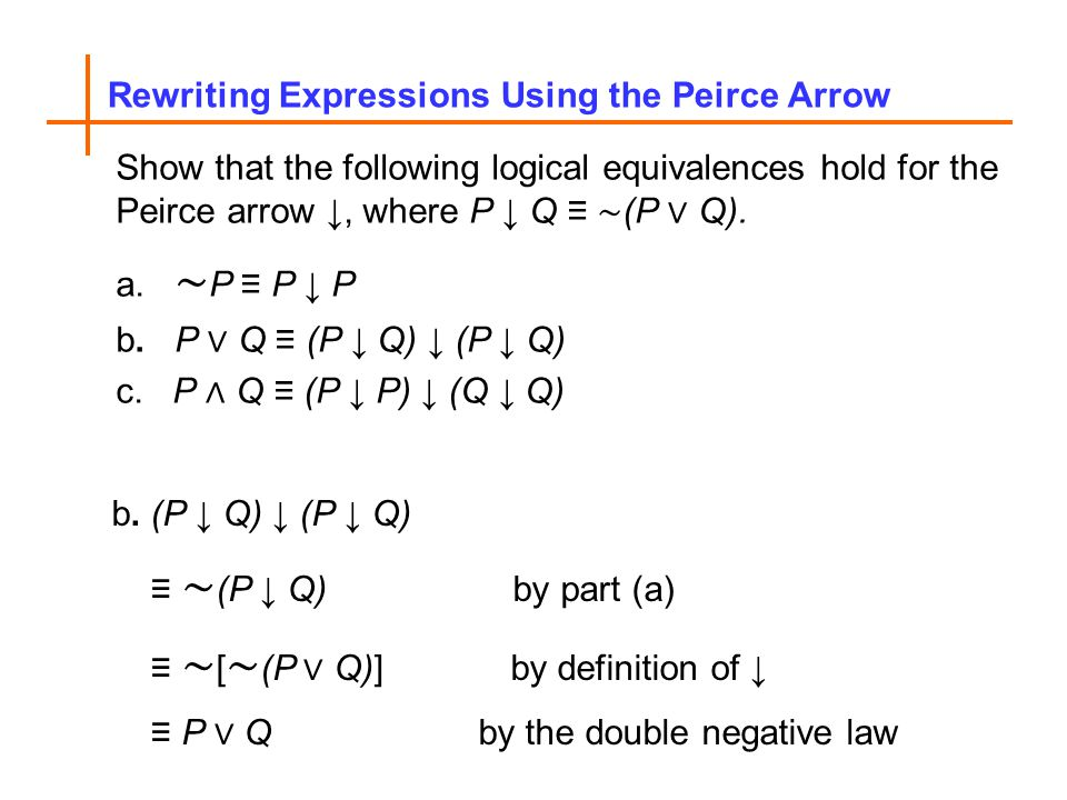 Rewriting Expressions Using the Peirce Arrow