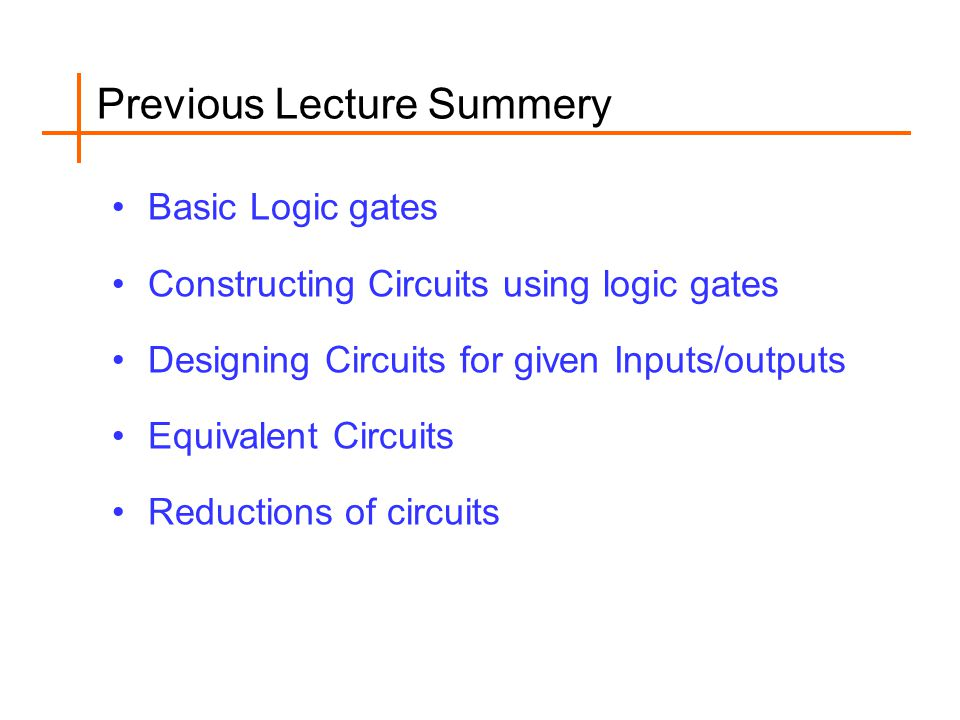 Previous Lecture Summery