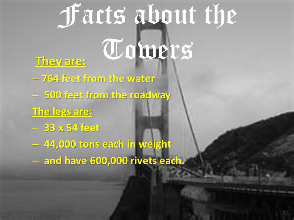 Facts about the Towers They are: 764 feet from the water