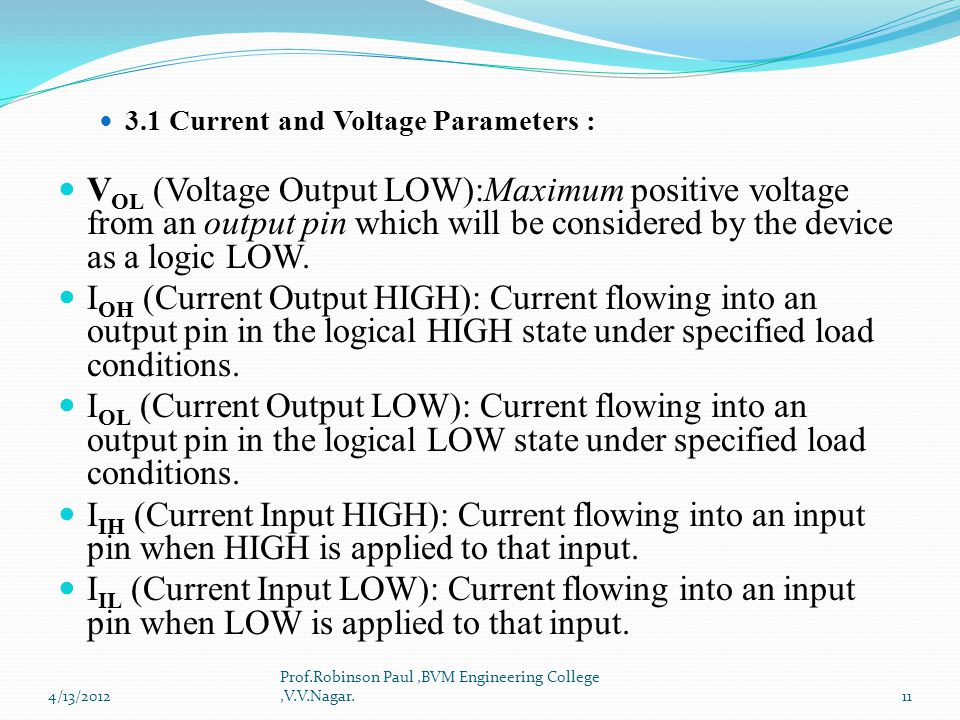 3.1 Current and Voltage Parameters :