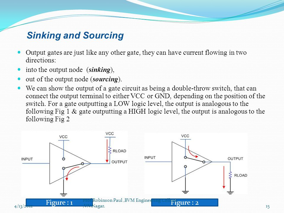 Sinking and Sourcing Output gates are just like any other gate, they can have current flowing in two directions: