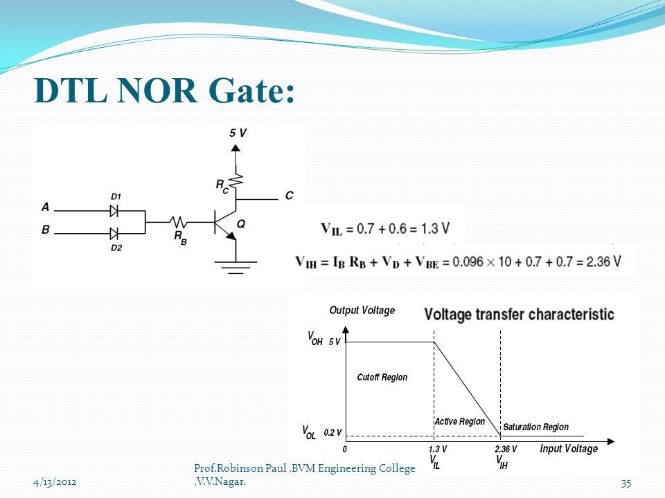 DTL NOR Gate: Prof.Robinson Paul ,BVM Engineering College ,V.V.Nagar.