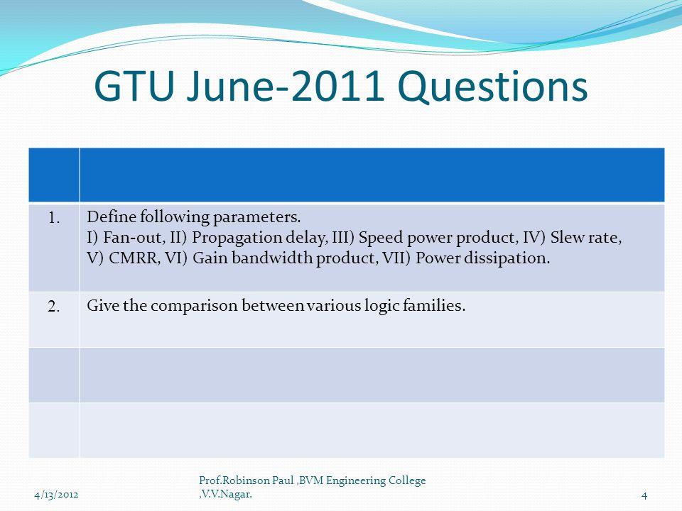 GTU June-2011 Questions 1. Define following parameters.