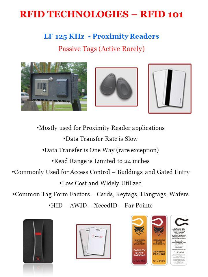 RFID TECHNOLOGIES – RFID 101 LF 125 KHz - Proximity Readers