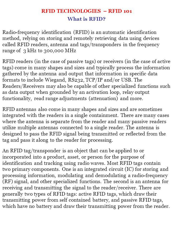 RFID TECHNOLOGIES – RFID 101