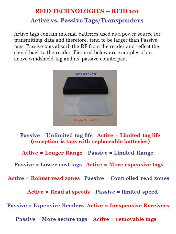 RFID TECHNOLOGIES – RFID 101 Active vs. Passive Tags/Transponders