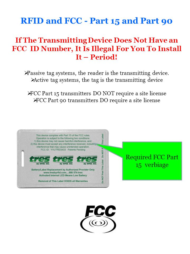RFID and FCC - Part 15 and Part 90