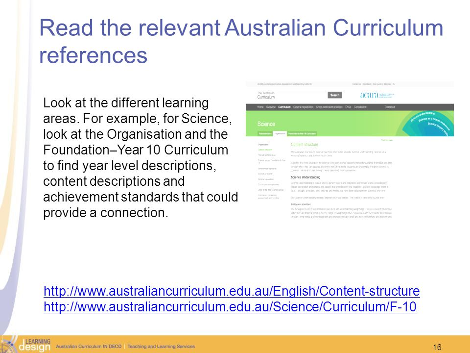 Read the relevant Australian Curriculum references