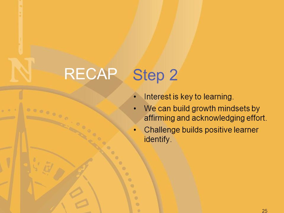 RECAP Step 2 Interest is key to learning.