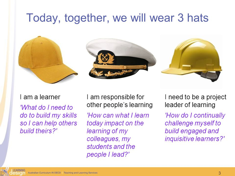 Today, together, we will wear 3 hats