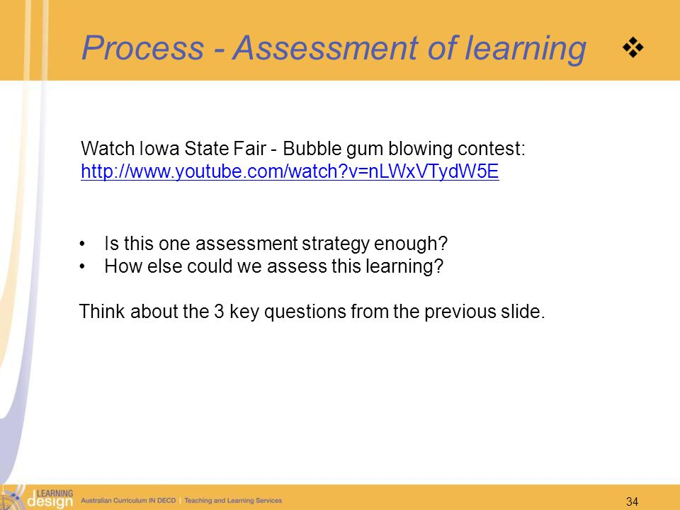 Process - Assessment of learning