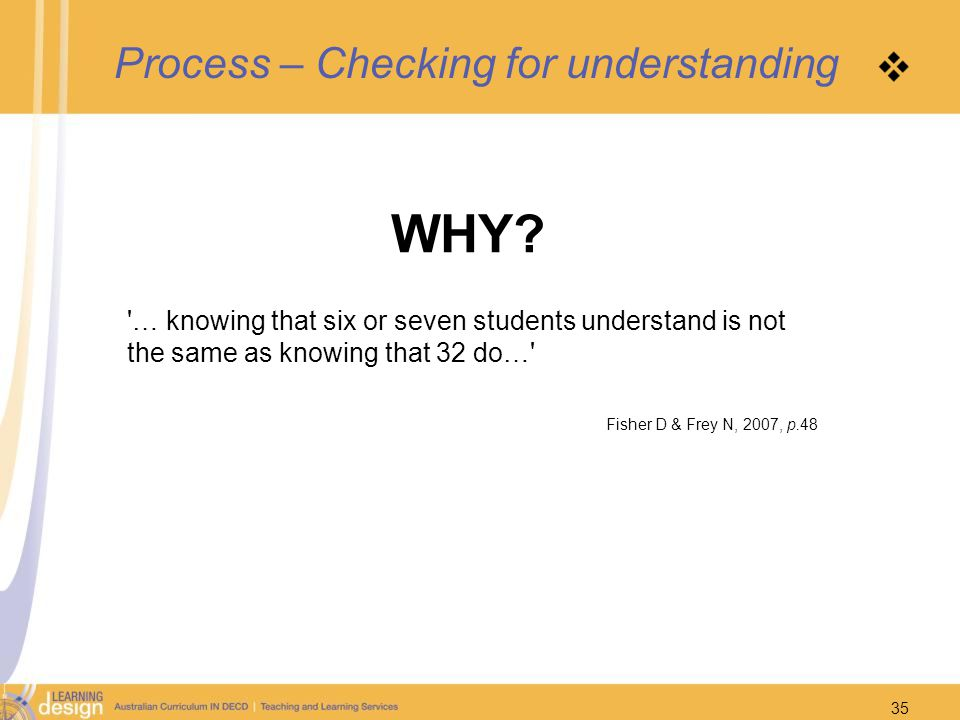 Process – Checking for understanding