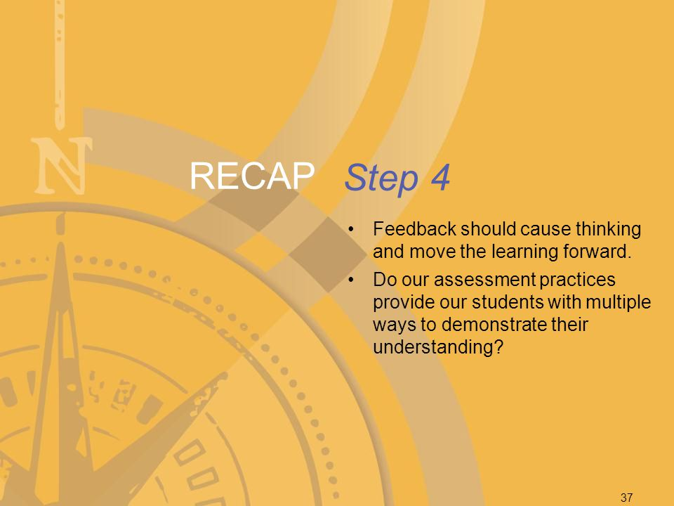 RECAP Step 4. Feedback should cause thinking and move the learning forward.