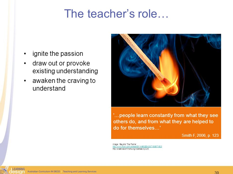 The teacher's role… ignite the passion. draw out or provoke existing understanding. awaken the craving to understand.
