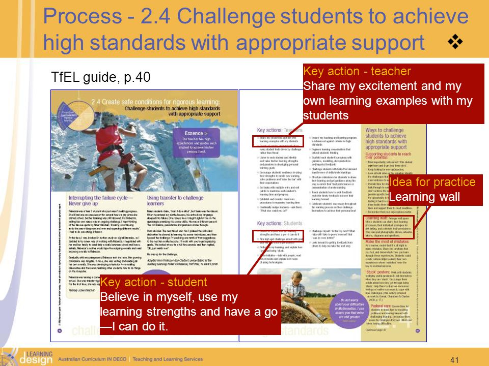 Process Challenge students to achieve high standards with appropriate support