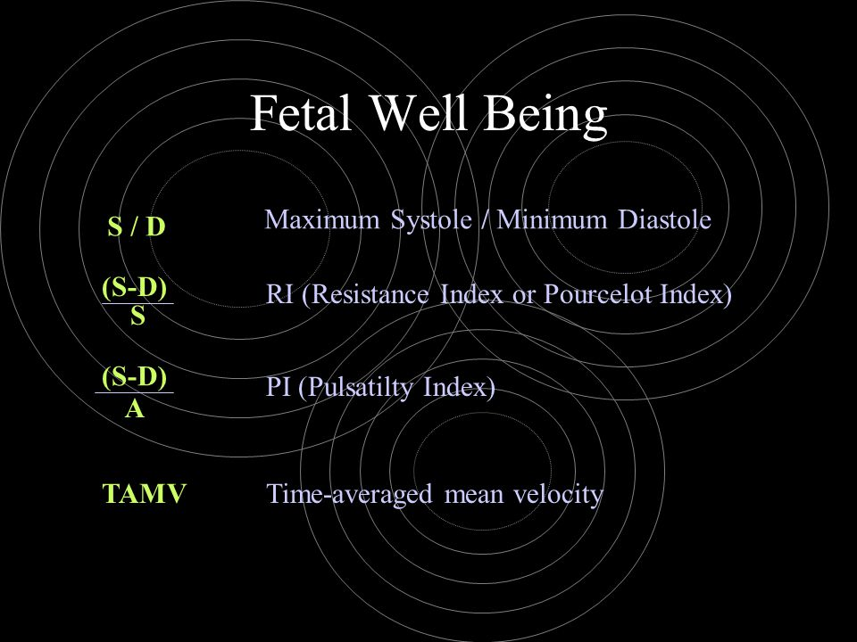 Fetal Well Being Maximum Systole / Minimum Diastole S / D (S-D)