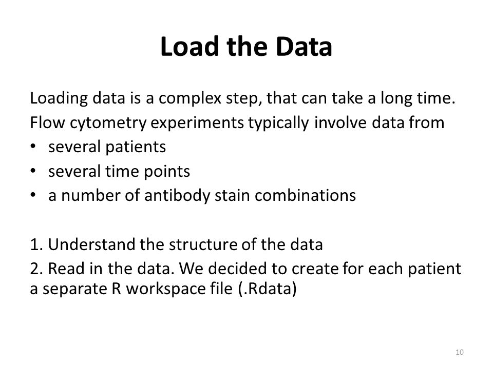 Load the Data Loading data is a complex step, that can take a long time. Flow cytometry experiments typically involve data from.