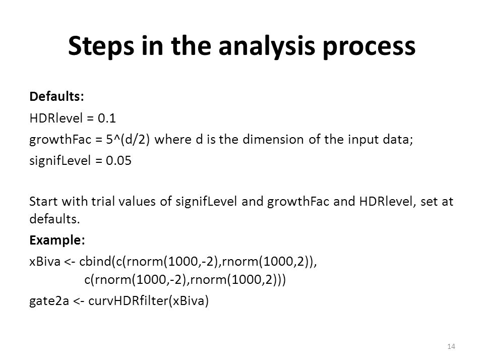 Steps in the analysis process