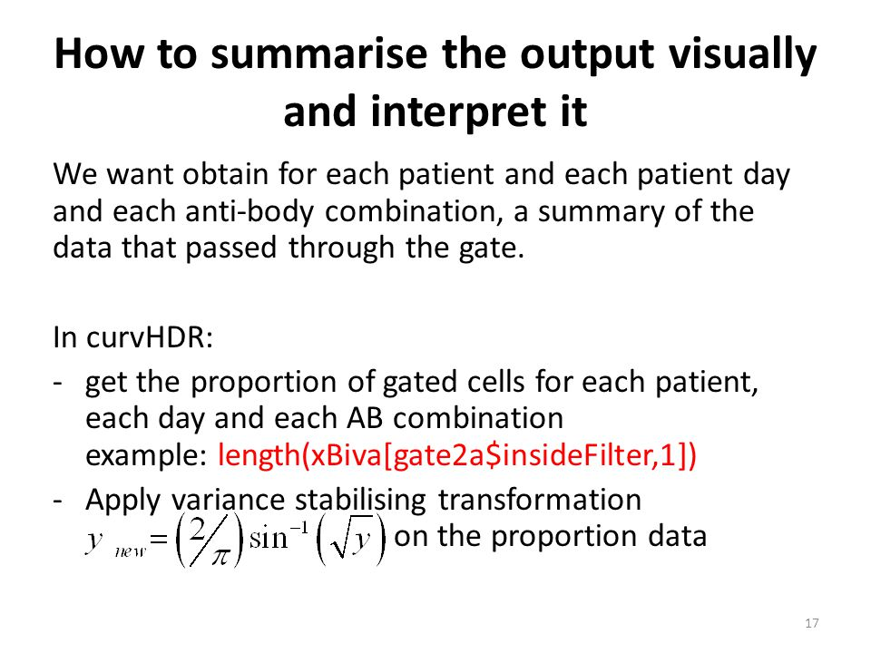 How to summarise the output visually and interpret it