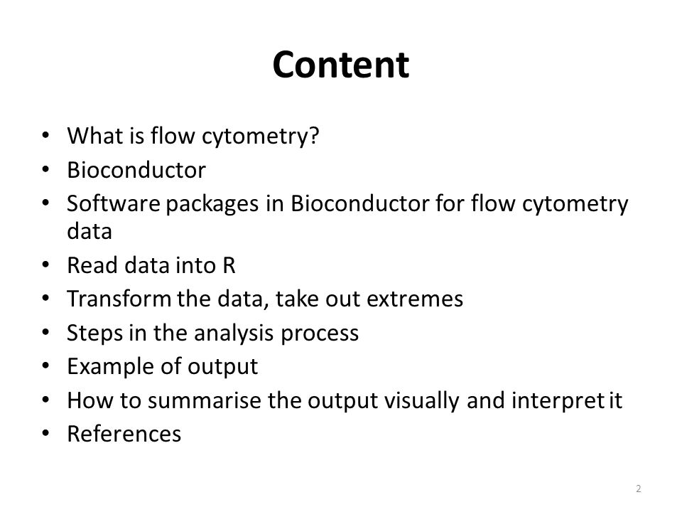Content What is flow cytometry Bioconductor