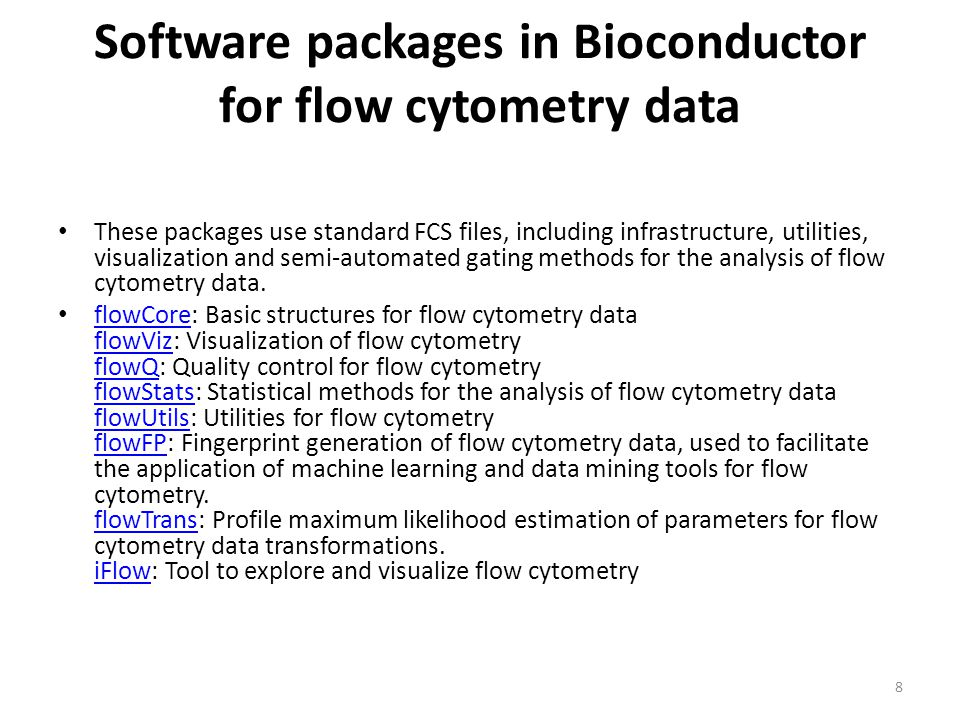 Software packages in Bioconductor for flow cytometry data