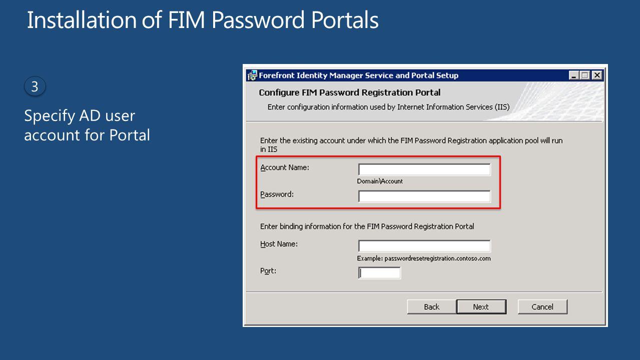 Installation of FIM Password Portals