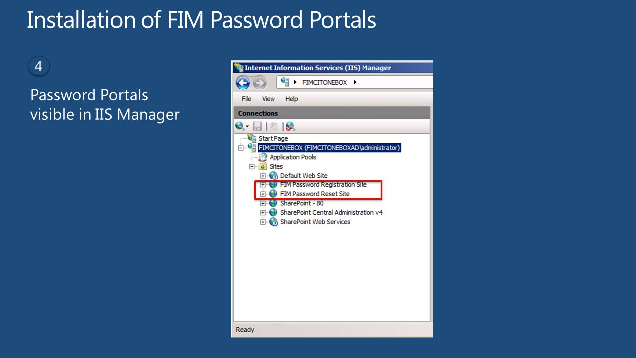 Installation of FIM Password Portals