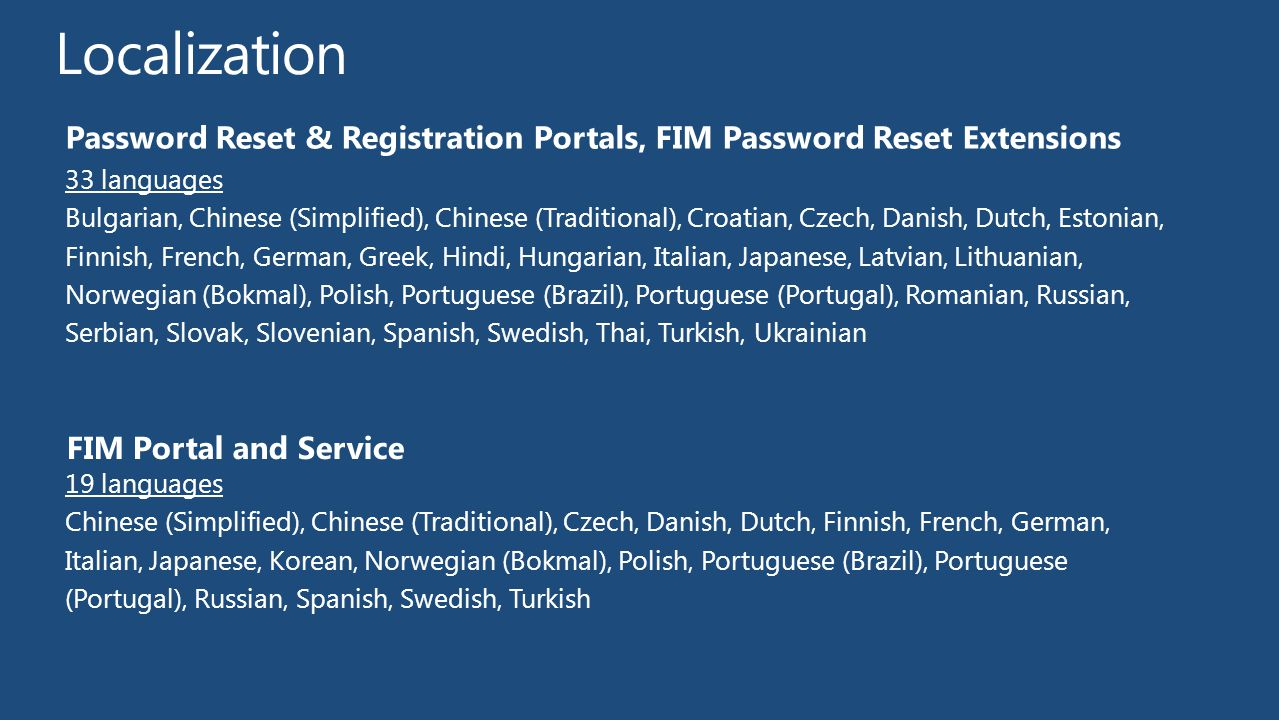 Localization Password Reset & Registration Portals, FIM Password Reset Extensions. 33 languages.