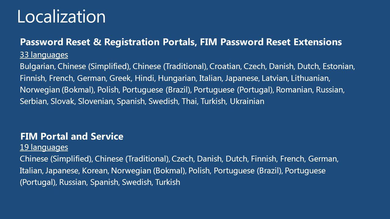 Localization Password Reset & Registration Portals, FIM Password Reset Extensions. 33 languages.