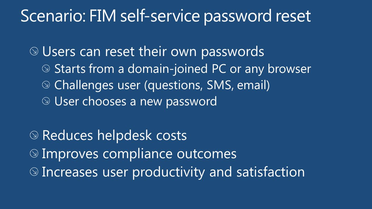Scenario: FIM self-service password reset