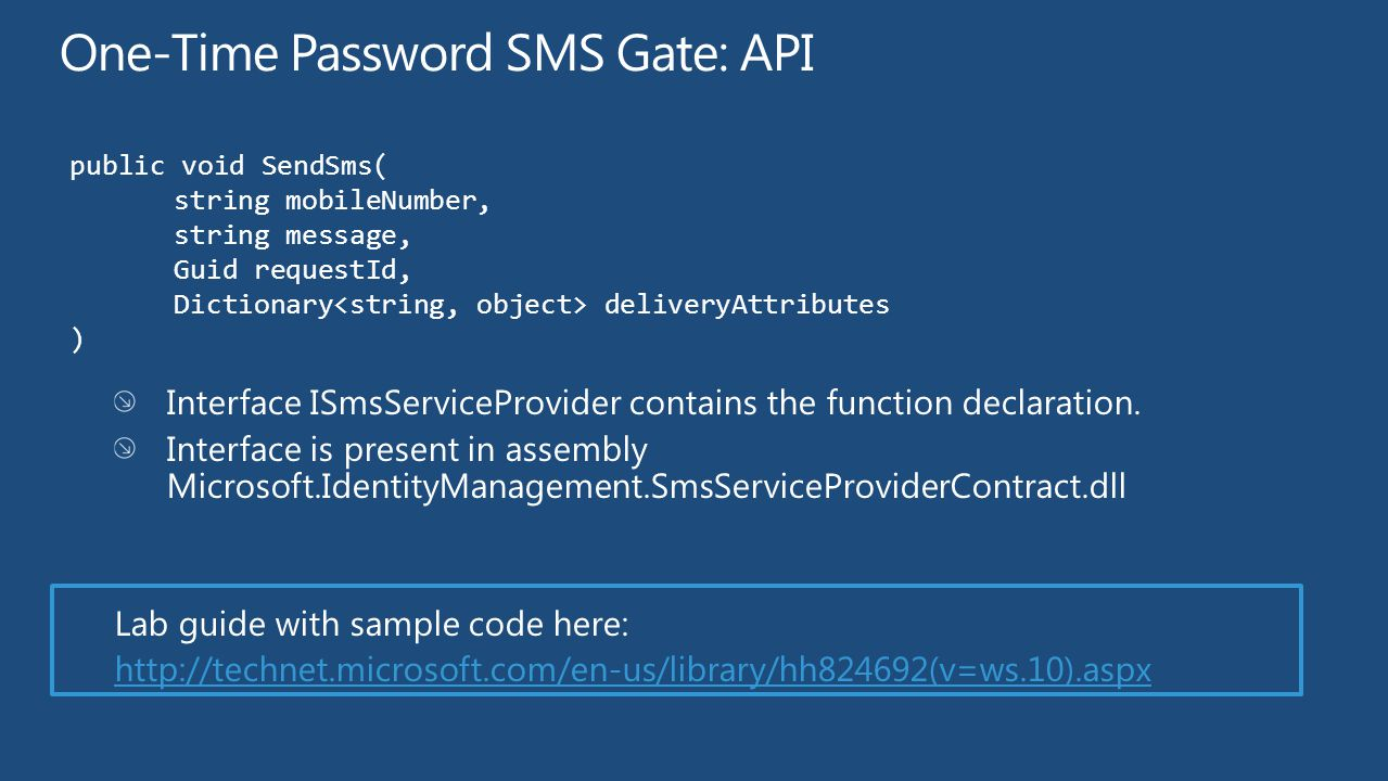 One-Time Password SMS Gate: API