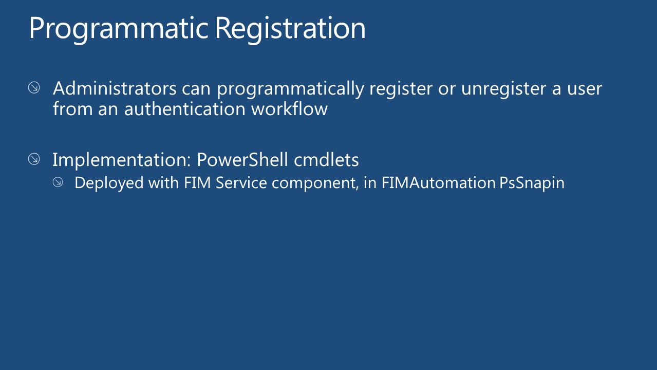 Programmatic Registration