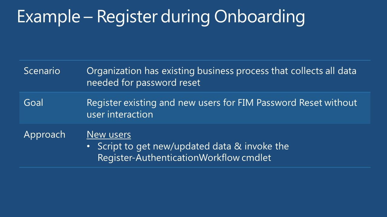 Example – Register during Onboarding