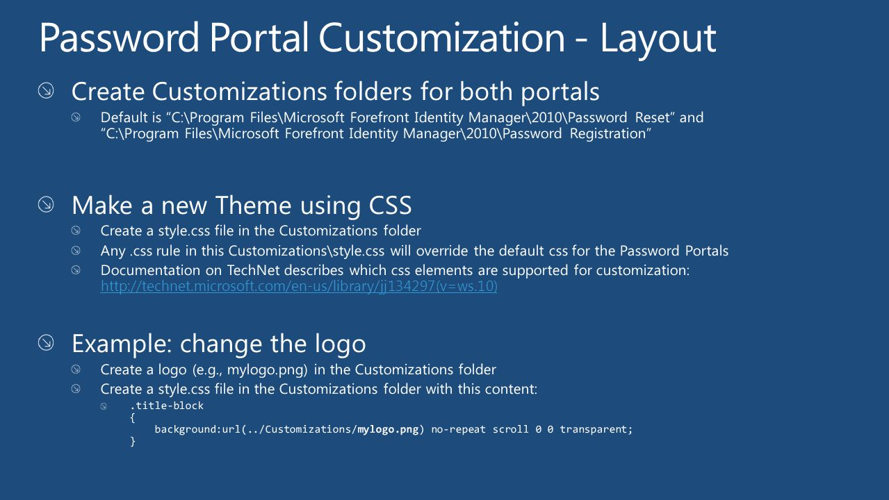 Password Portal Customization - Layout