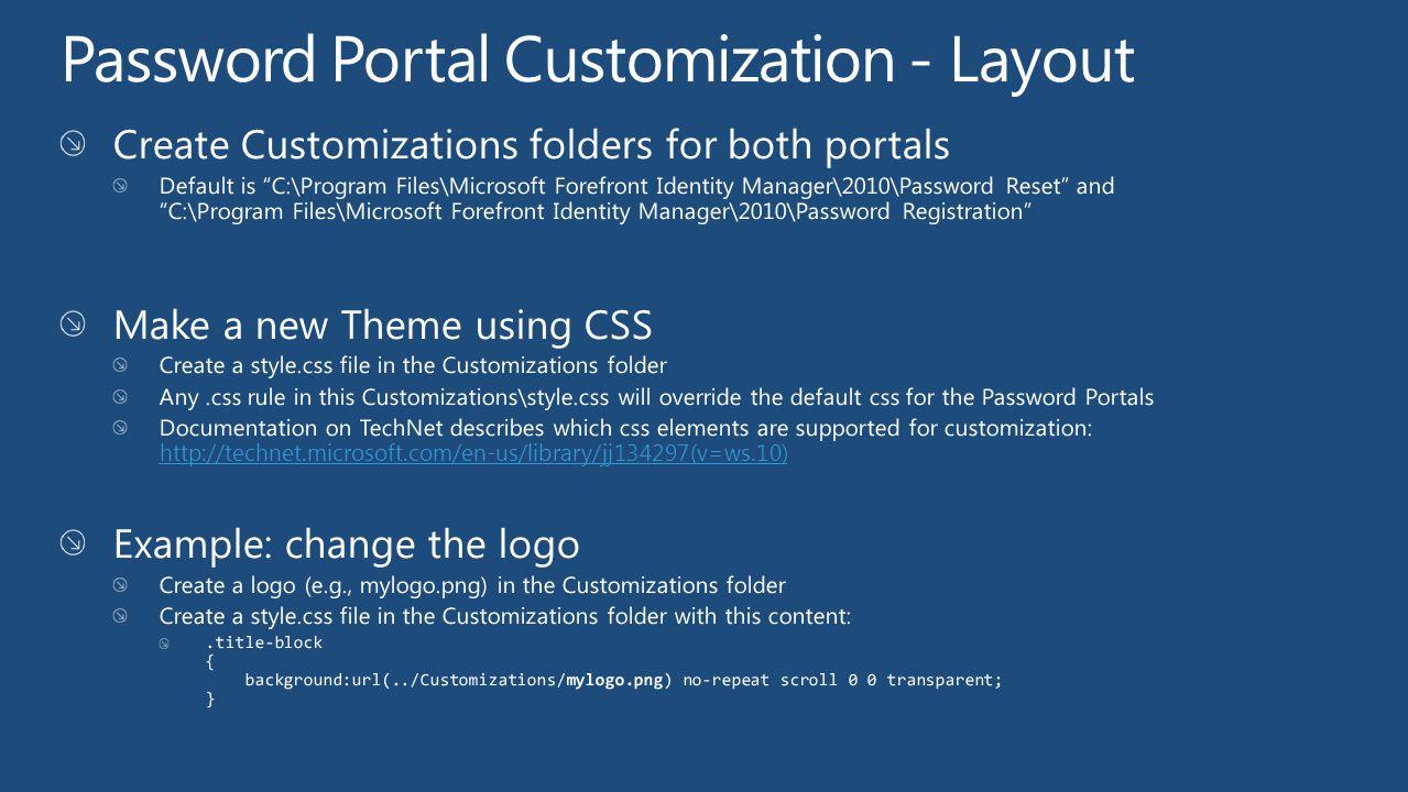 Password Portal Customization - Layout