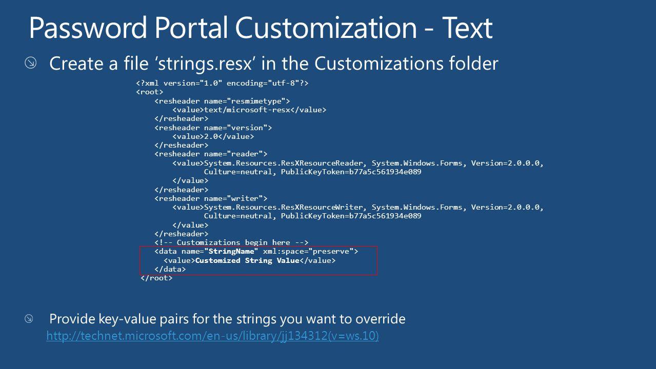 Password Portal Customization - Text