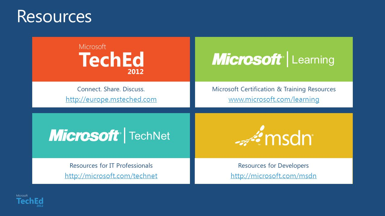 Resources Learning TechNet http://europe.msteched.com