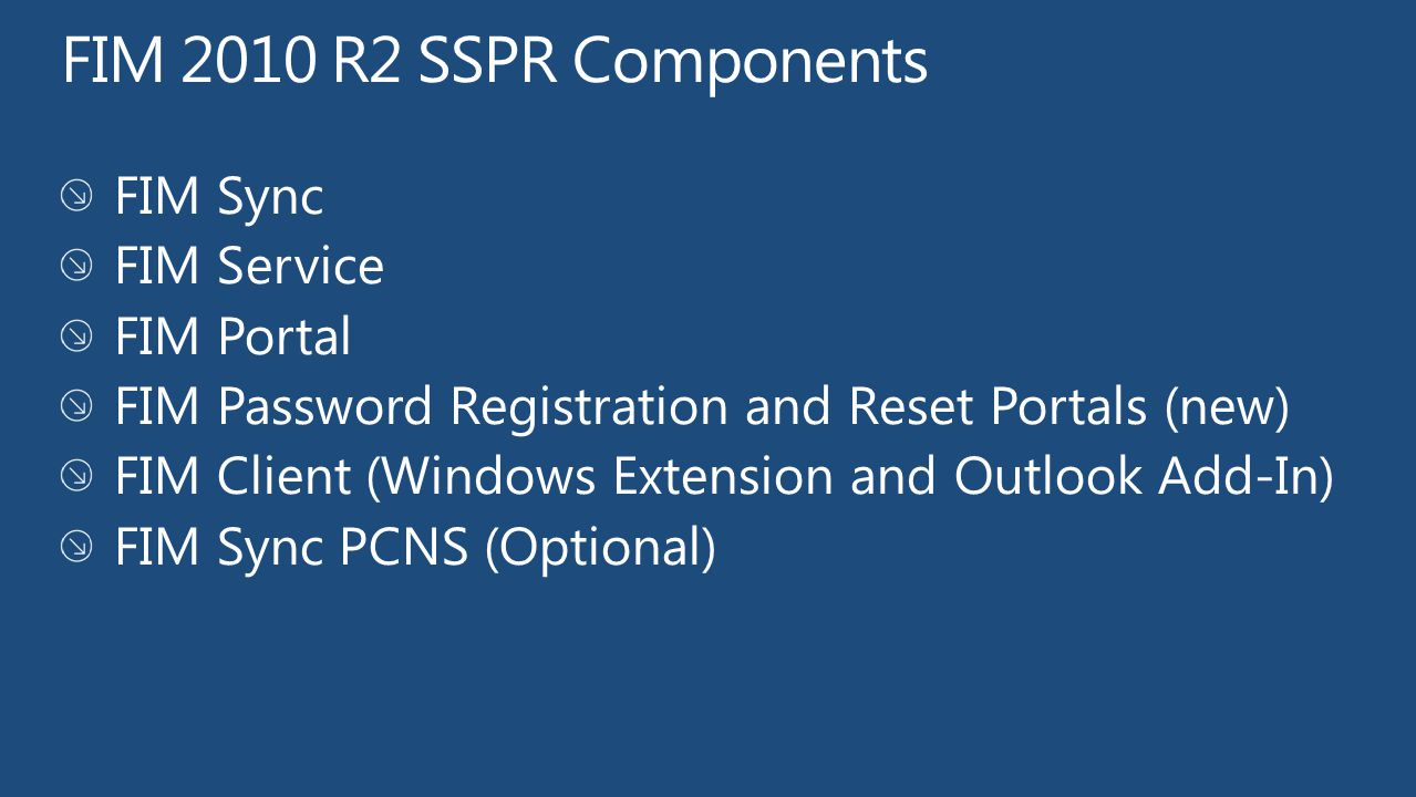 FIM 2010 R2 SSPR Components FIM Sync FIM Service FIM Portal