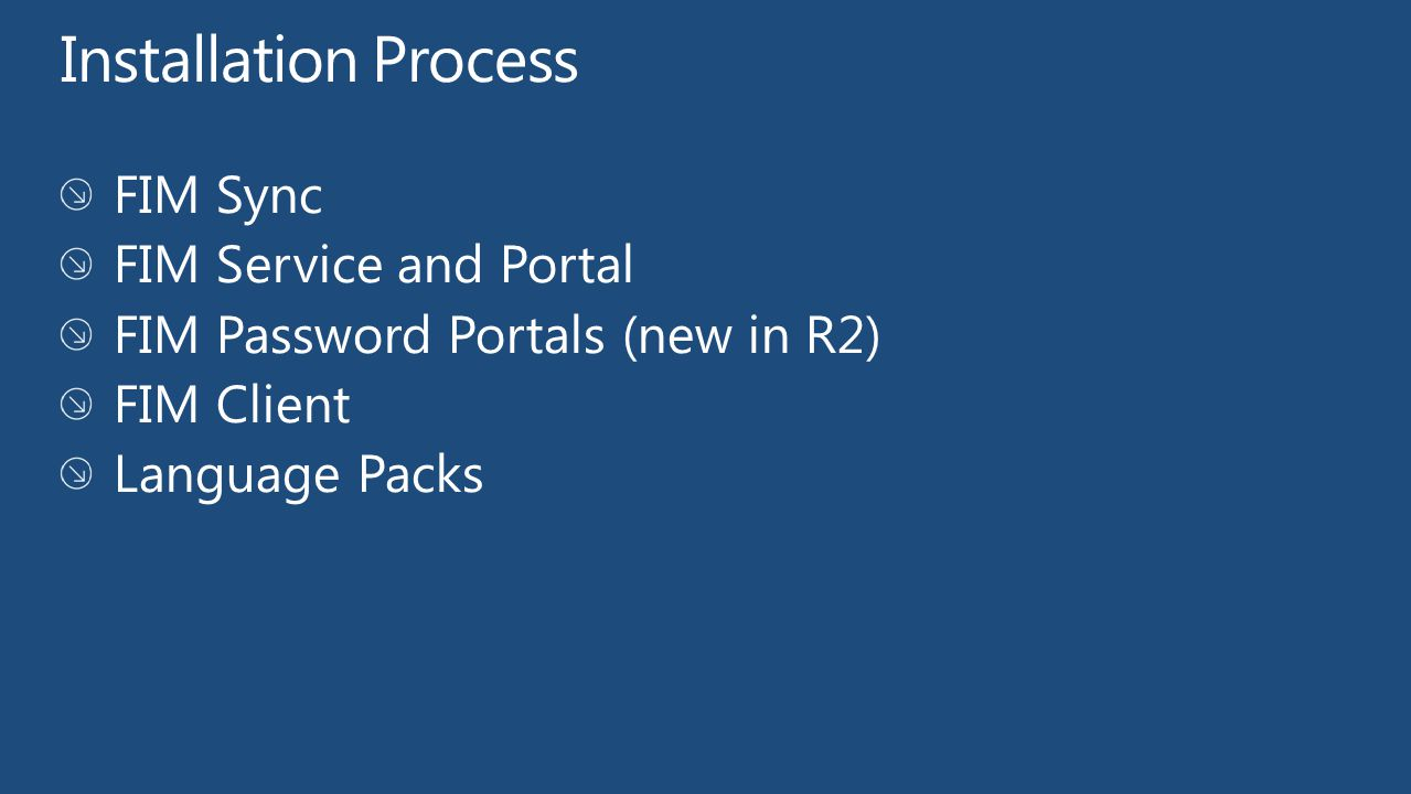 Installation Process FIM Sync FIM Service and Portal